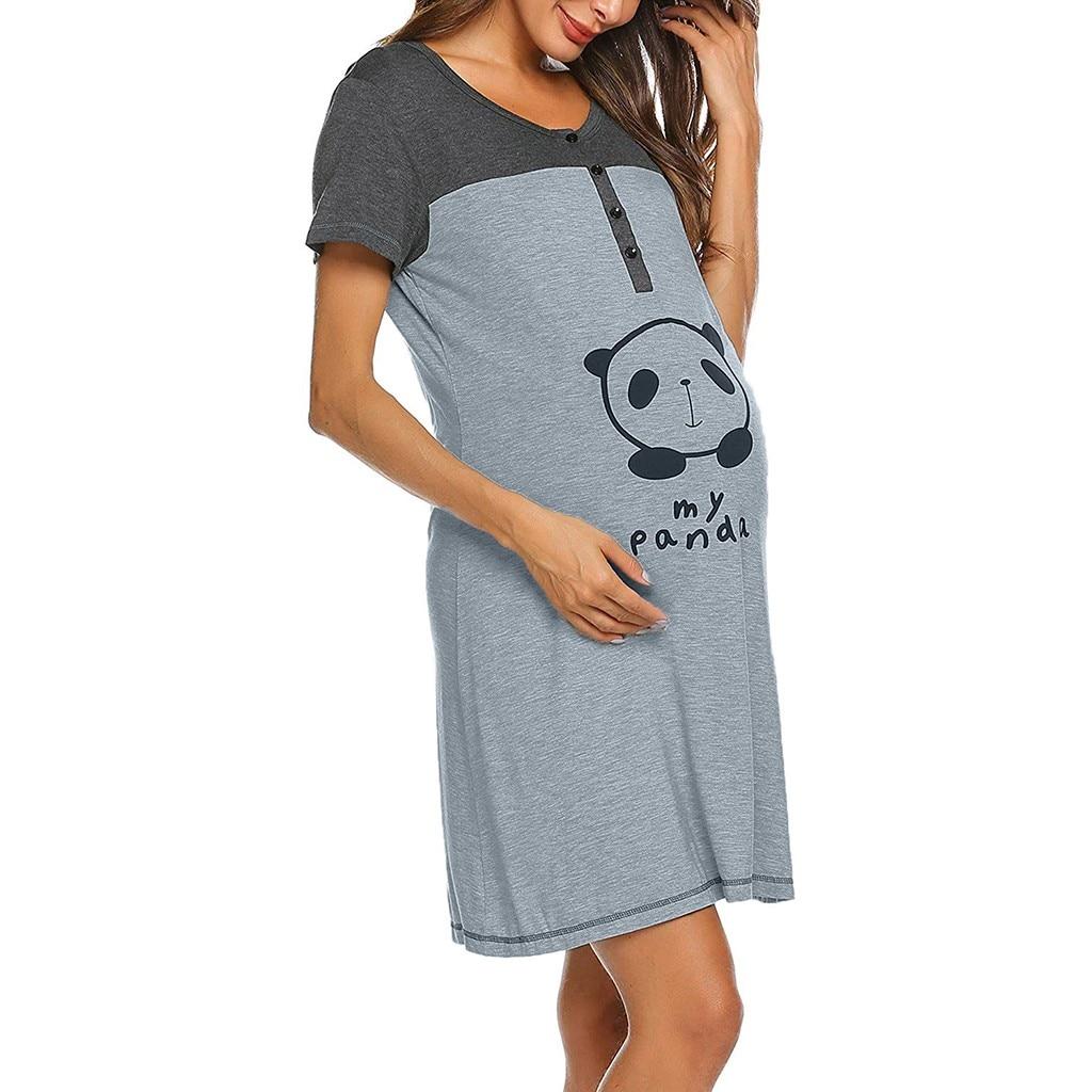 Chemise de nuit de grossesse et d\'allaitement en coton motif panda -Livraison standard gratuite