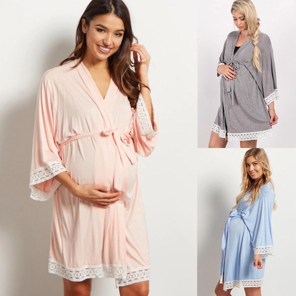 Robe de chambre de grossesse en coton léger -Bleu/Gris/Rose/Bleu foncé/Ardoise - Sur demande