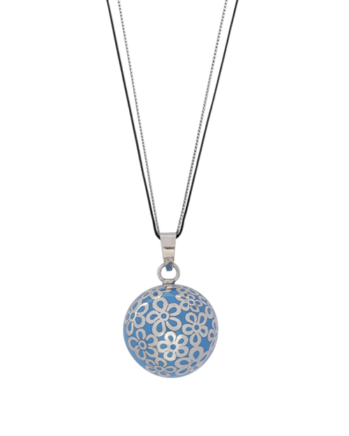 Bola de grossesse bleu motifs fleurs sertis en argent 925 - Livré en 48H/72H