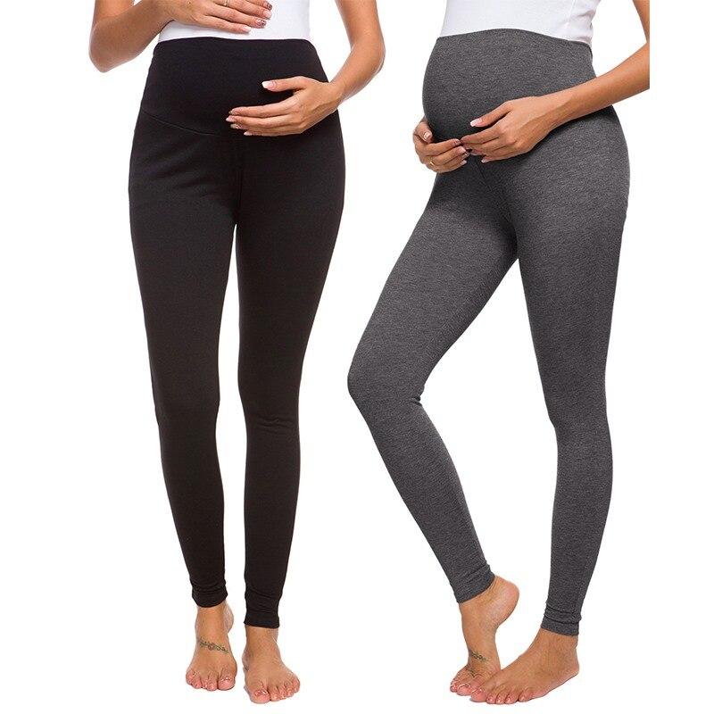 Economique - Lot de 2 leggings de grossesse taille haute