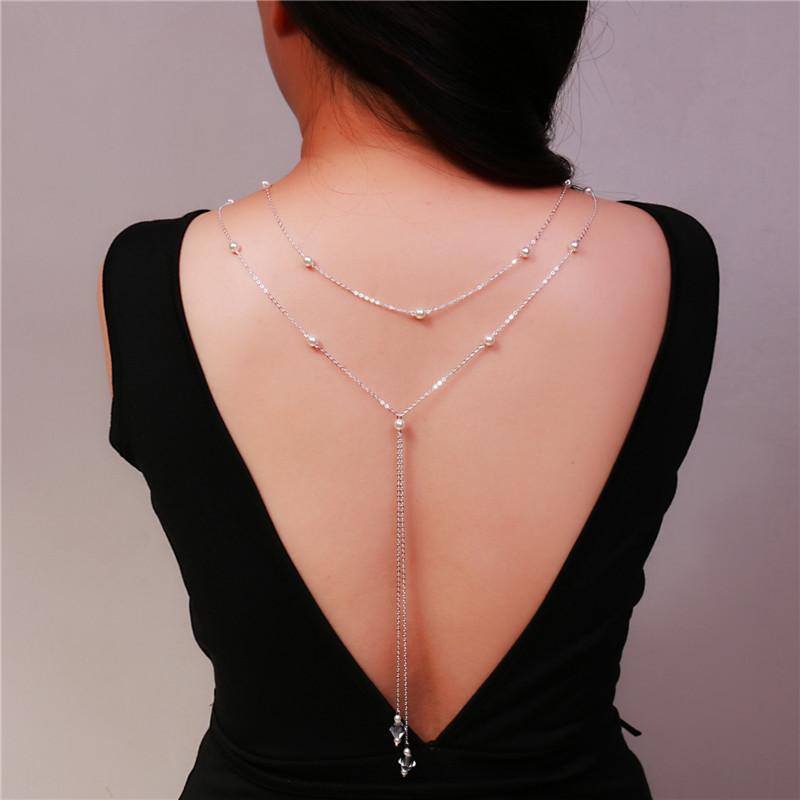 Collier de dos nu avec perles et cristal - A porter avec la robe élégante de grossesse