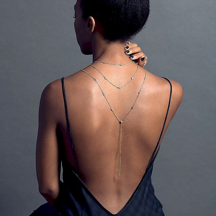 Collier de dos 3 chaines et cristal - A porter avec la robe élégante de grossesse - Livré en 48H/72H