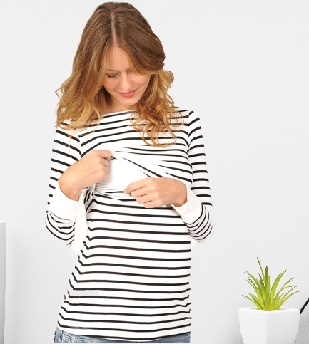 T-shirt de grossesse et d\'allaitement rayé - Livré en 48H/72H