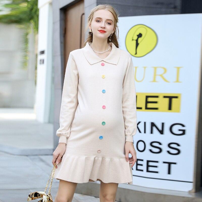 Robe-de-maternit-automne-et-hiver-robe-chemise-de-grossesse-automne-2019-mode-bas-jupe-tricot