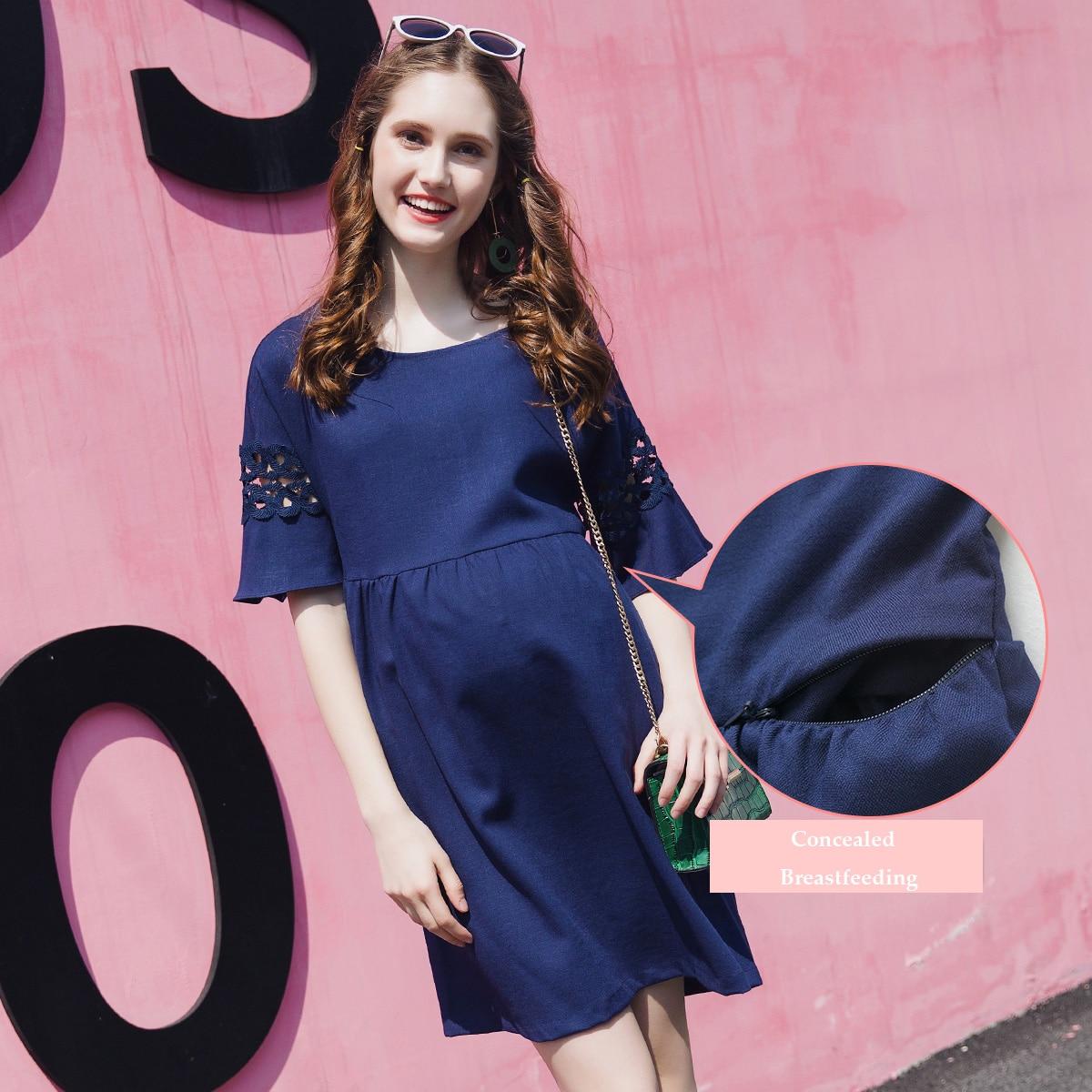 Robe de grossesse spécial allaitement  - Rose/Bleu