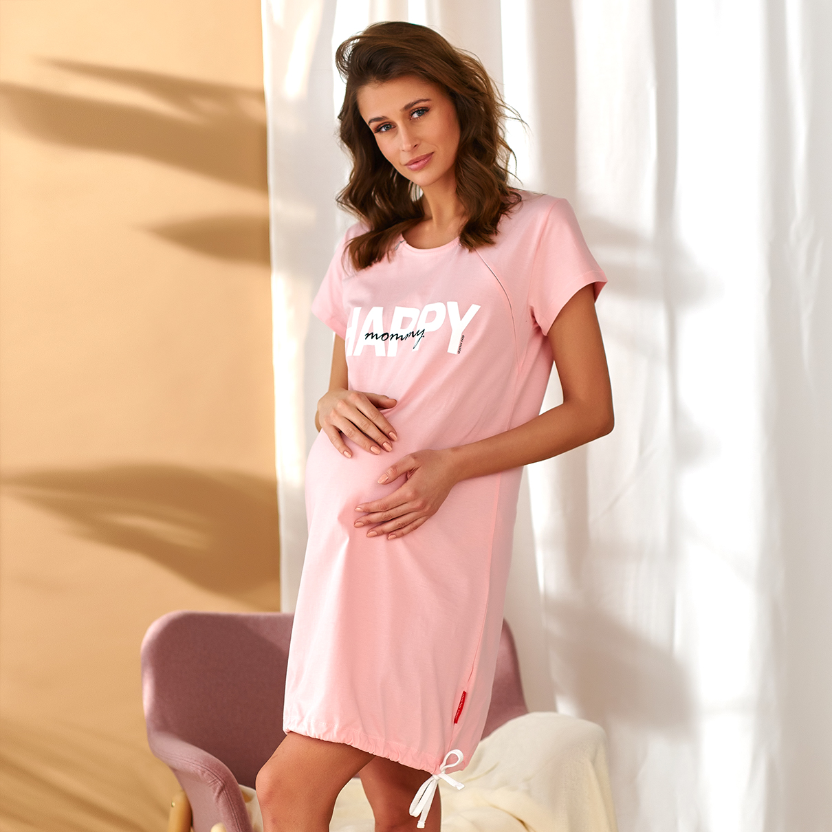 T-shirt de nuit de grossesse et d\'allaitement en coton oeko-tex