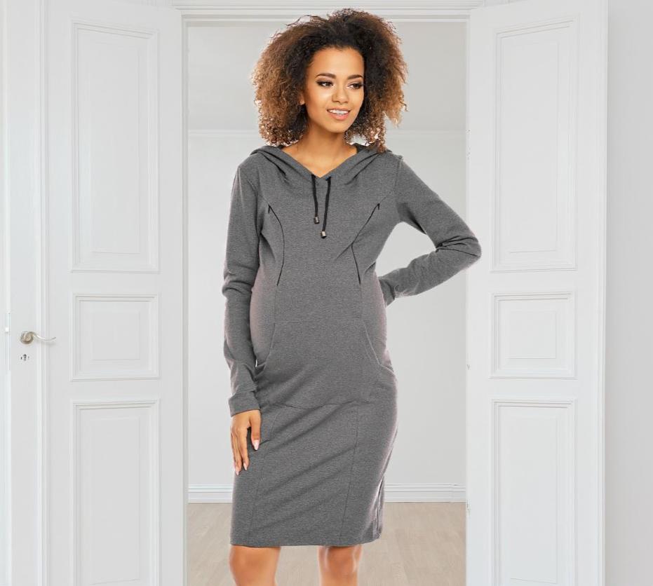Robe sweat de grossesse et d\'allaitement en coton - Gris/Noir
