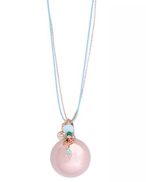 Bola de grossesse plaqué en or rose avec pampille turquoise