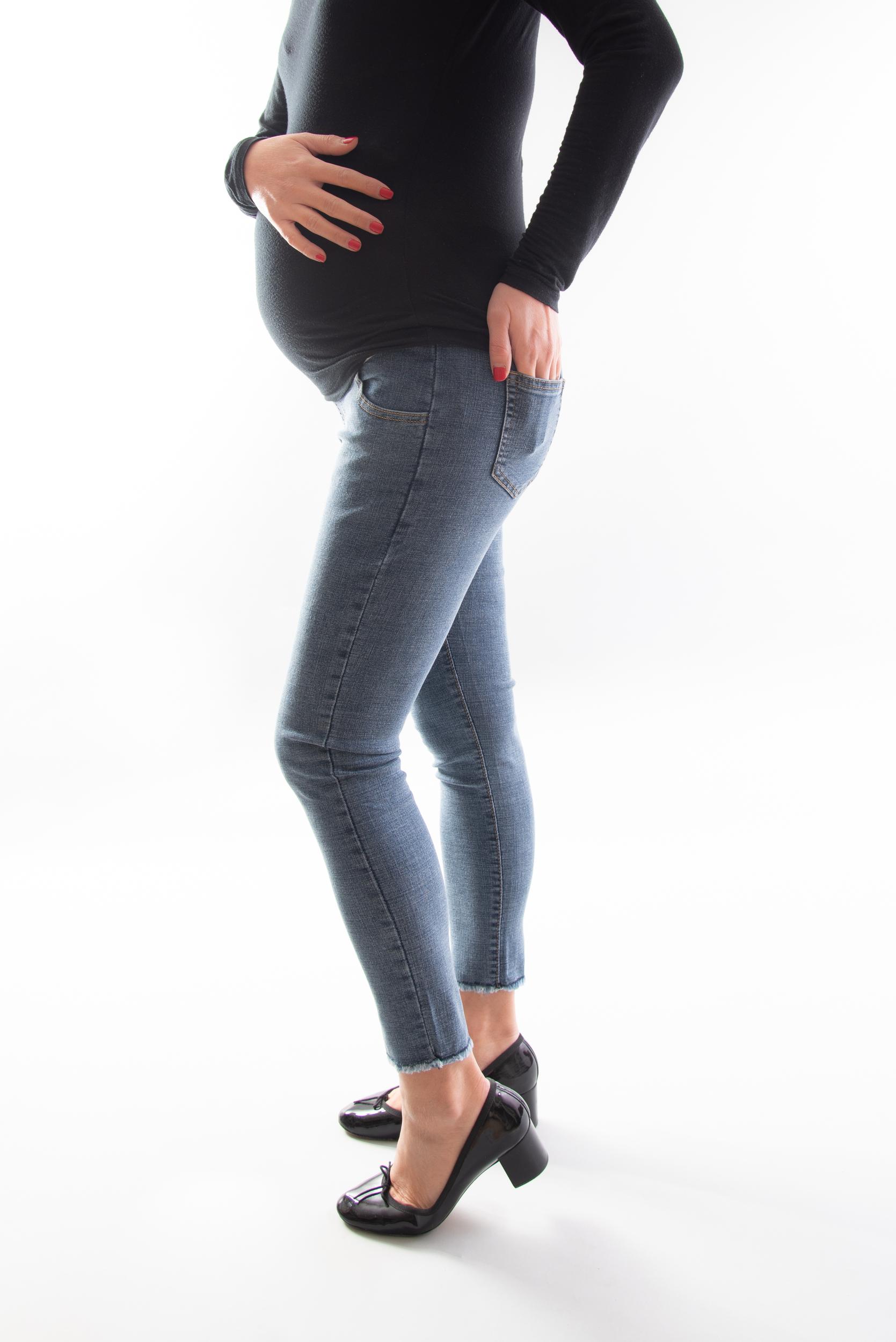 Jean de grossesse skinny court - Noir/Bleu