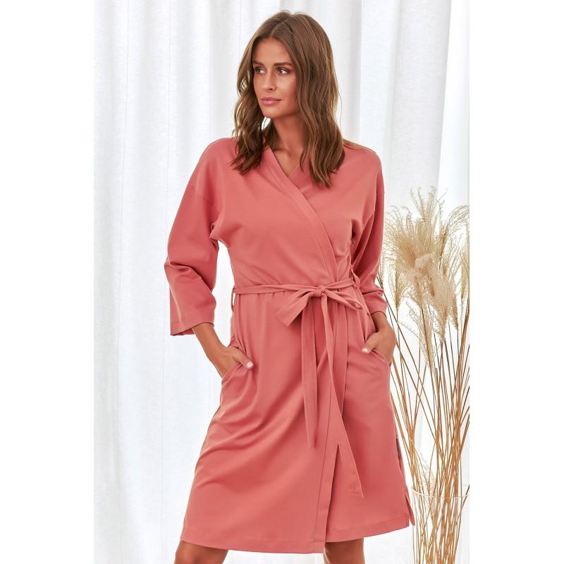 Robe de chambre en coton biologique - Corail/Lilas