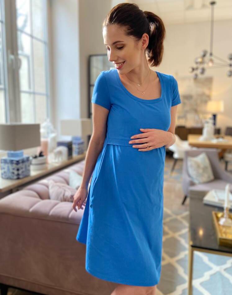 Robe de grossesse et d\'allaitement Lulla en coton oeko-tex - Framboise/Bleu