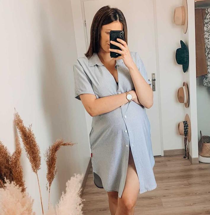 Chemise de nuit de grossesse et d\'allaitement spécial maternité - Rose/Bleu/Gris