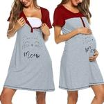Robes-de-maternit-d-t-pour-femmes-manches-courtes-imprim-mignon-chemise-de-nuit-d-allaitement