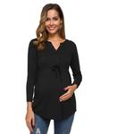 Femmes-hauts-de-maternit-grossesse-chemises-d-contract-manches-longues-col-en-V-grossesse-Blouse-cordon