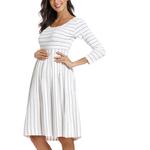 Robe-de-maternit-d-contract-rayures-col-rond-3-4-manches-genou-longueur-robes-de-grossesse