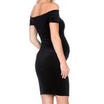 Robes-de-maternit-Sexy-sans-paule-pour-femmes-enceintes-v-tements-solides-robes-de-grossesse-Skinny