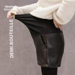 1079-noir-PU-Shorts-de-maternit-Auutmn-hiver-mode-Shorts-pour-femmes-enceintes-r-glable-ventre