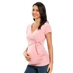 Maternit-manches-courtes-chemises-enceinte-t-Blouse-allaitement-col-en-v-Sexy-hauts-pour-grossesse-haut