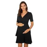 Robes-d-t-pour-la-grossesse-femmes-maternit-manches-courtes-robe-enceinte-Wrap-col-en-v