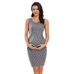 Robes-de-maternit-t-enceinte-sans-manches-robe-grossesse-couleur-unie-robes-pli-maternit-robe-serr
