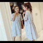 Robe coton et lin bleu 6