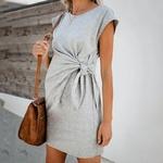 Robe-de-maternit-taille-haute-Ample-manches-courtes-Double-couche-solide-et-confortable-robes-de-grossesse