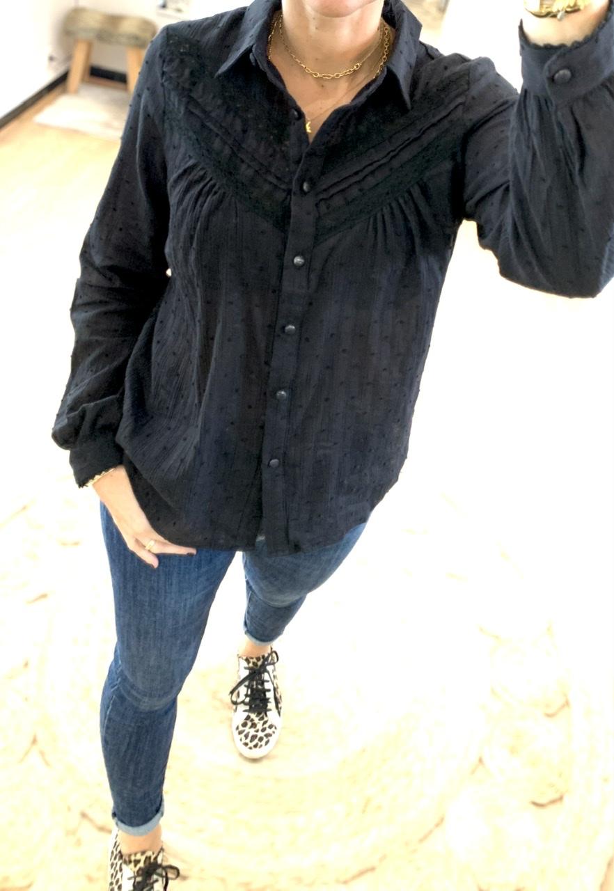 Chemise noire en voile de coton