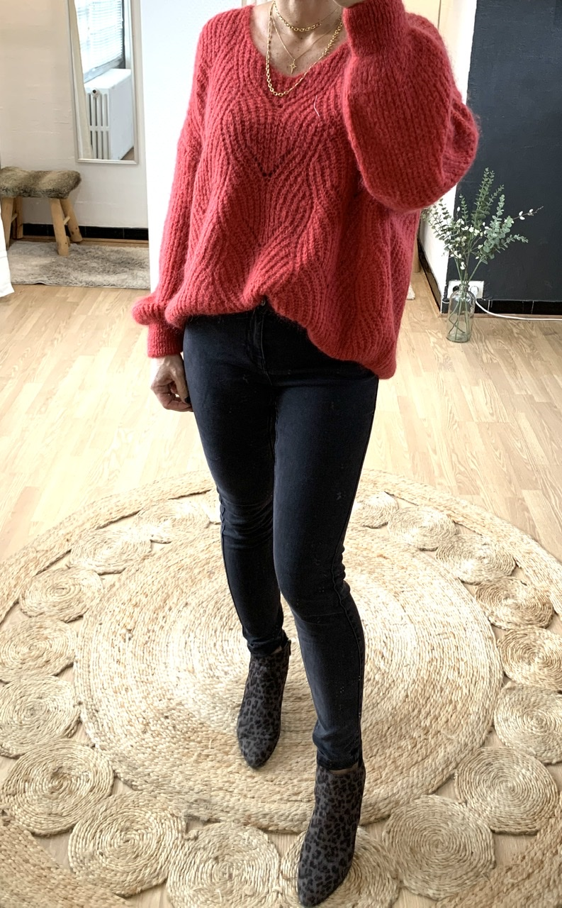 Pull loose rouge cerise
