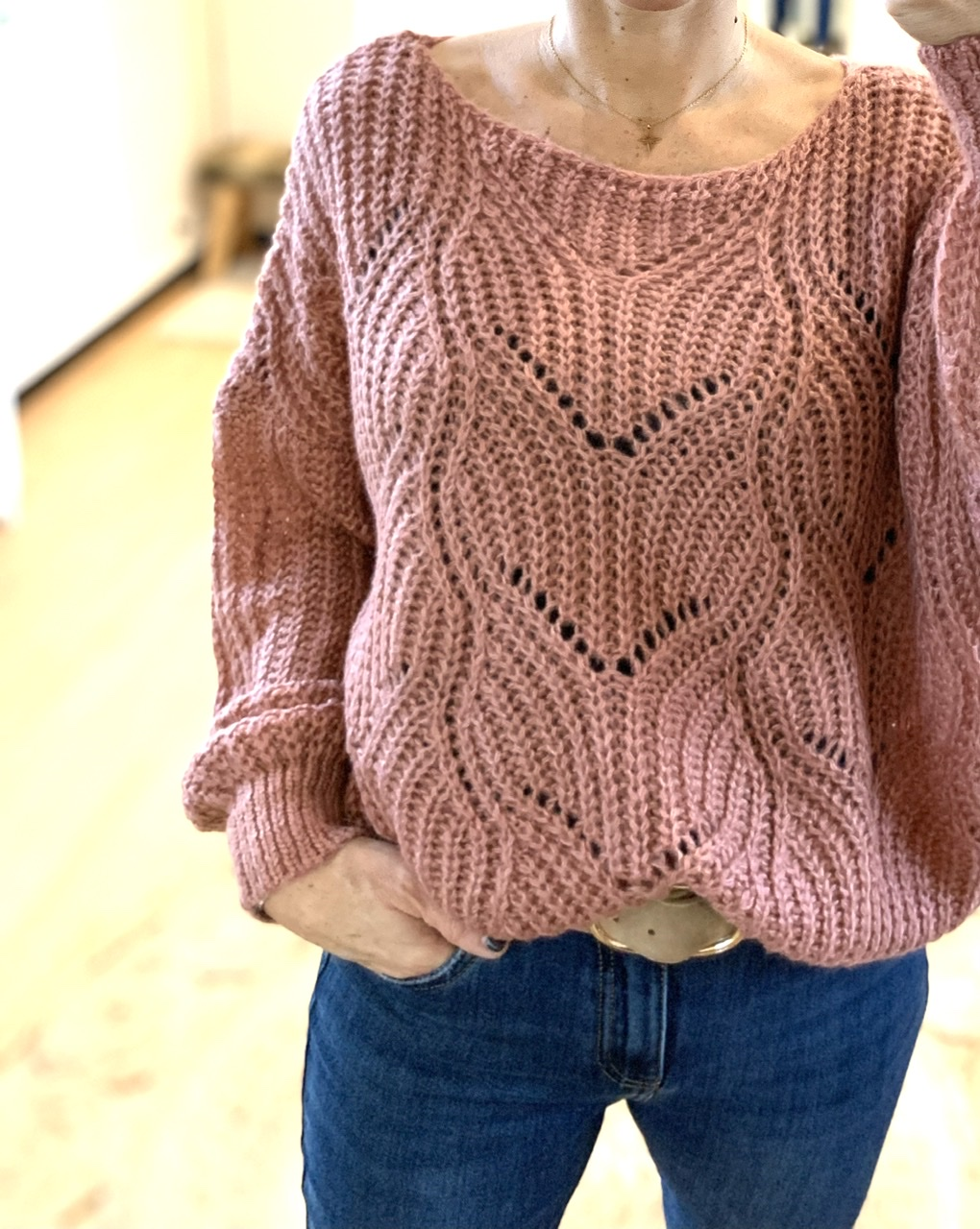 Pull oversize vieux rose