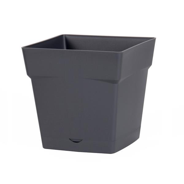 Pot carré avec soucoupe clipsée 17.4 x 17.4 cm H 17 cm