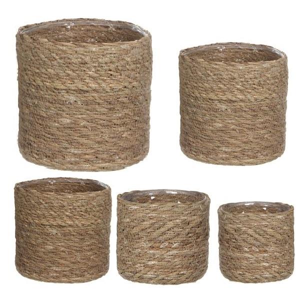 Panier de corde tressée forme droite - Cache-Pot Panier