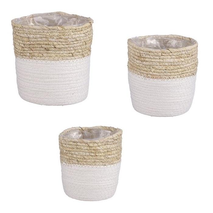Panier de corde tressée forme droite blanc et beige - Cache-Pot