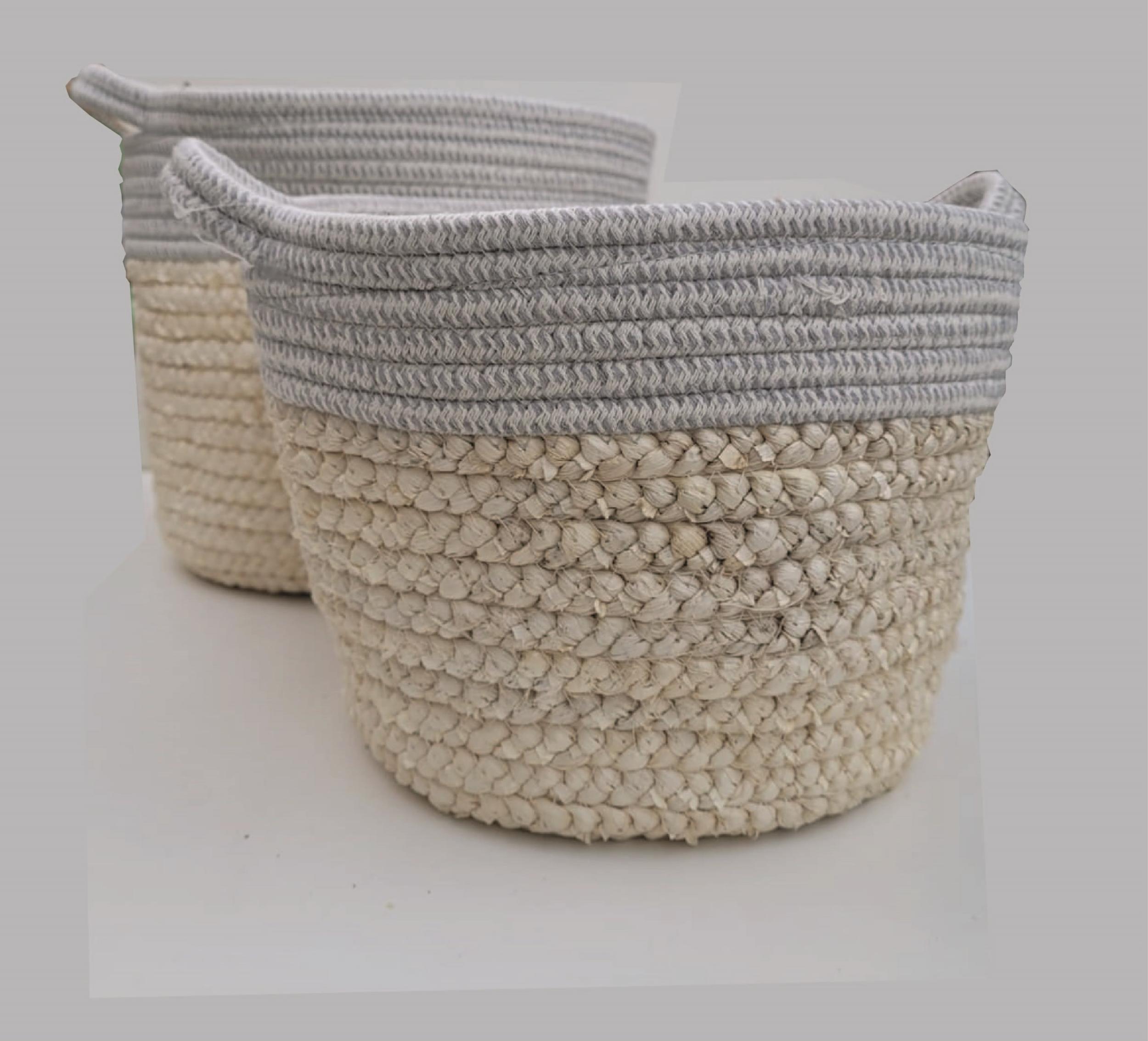 Panier de corde tressée avec poignées gris et beige clair - Cache-Pot