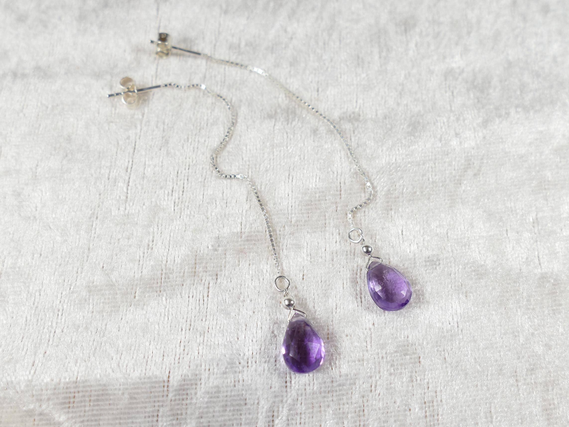 boucles d'oreilles vénitienne chaine argent 925 améthyste naturelle violette