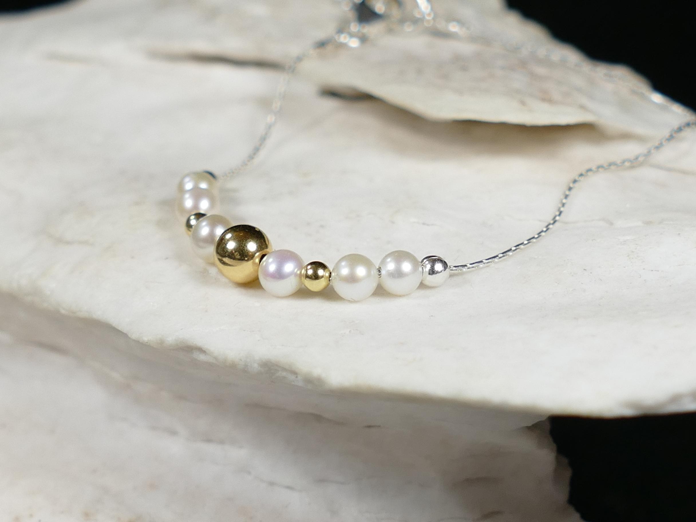 bracelet argent et or perles de cultures ronde naturelles