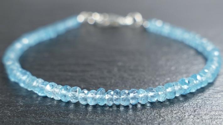 bracelet argent apatite naturelle bleu ciel