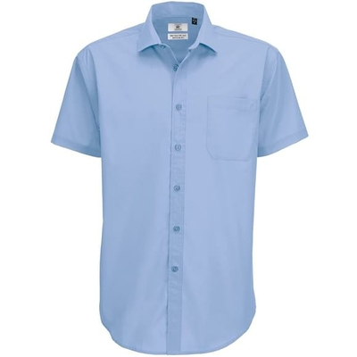 Chemise homme manches courtes polyester coton
