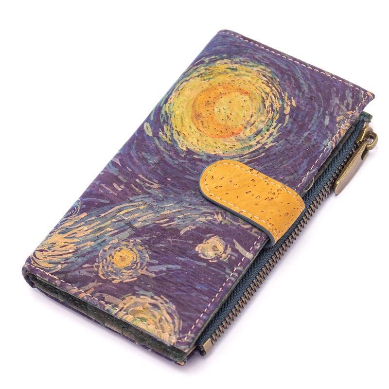 Portefeuille en liège coloré modèle Van Gogh
