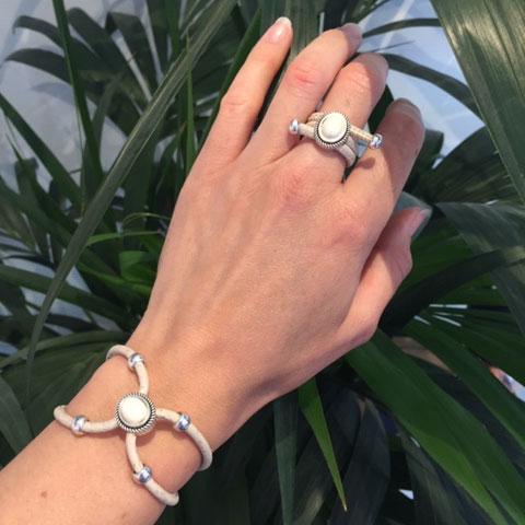 Maria - Ensemble bague et bracelet en liège crème