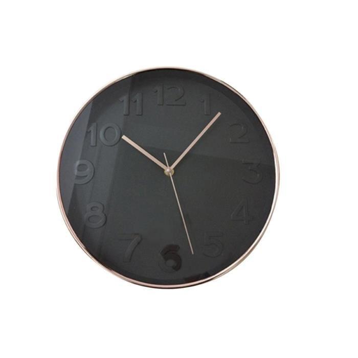 Horloge murale noire et ronde 30,5 cm