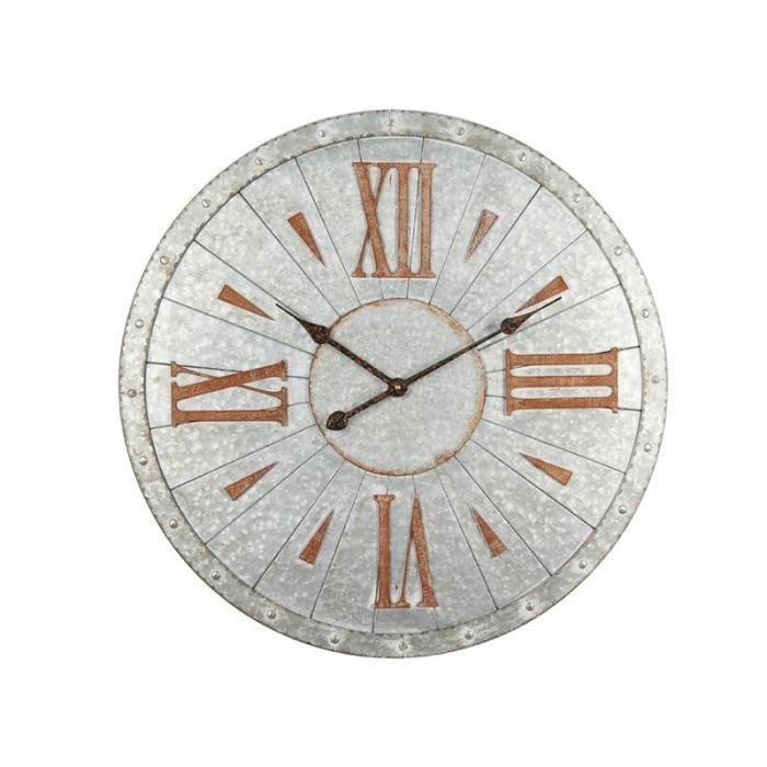 Horloge murale en acier à effet métal 68 cm