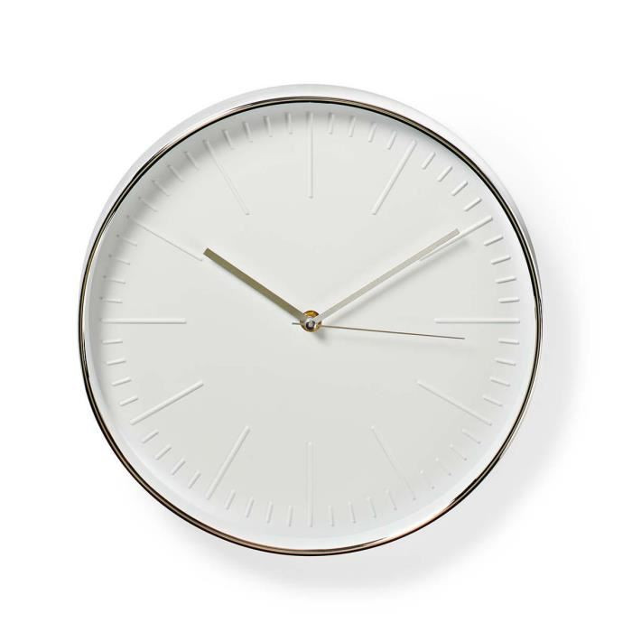 Horloge murale circulaire blanche/argente 30 cm