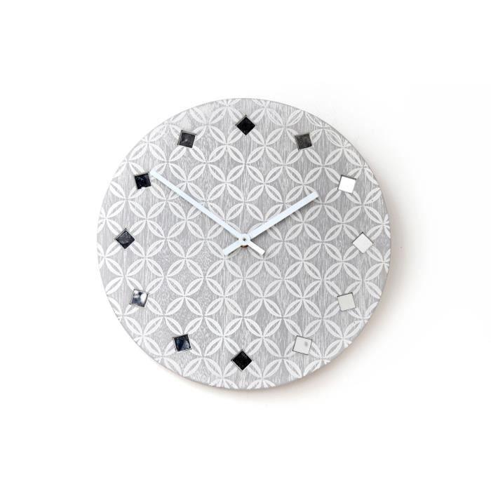 Pendule grise géo avec strass 30 cm