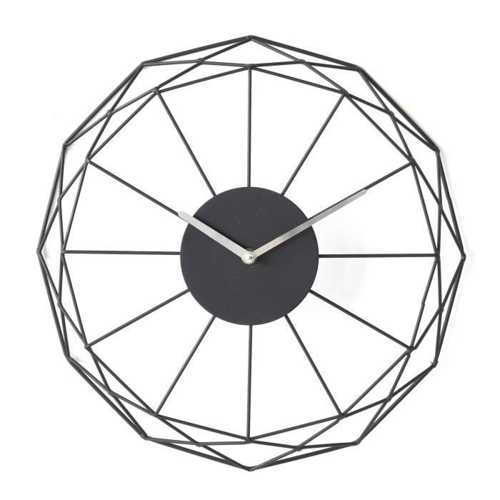 Horloge ronde en métal noir 39 cm
