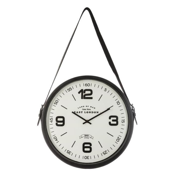 Pendule ceinture en métal noir 38 cm