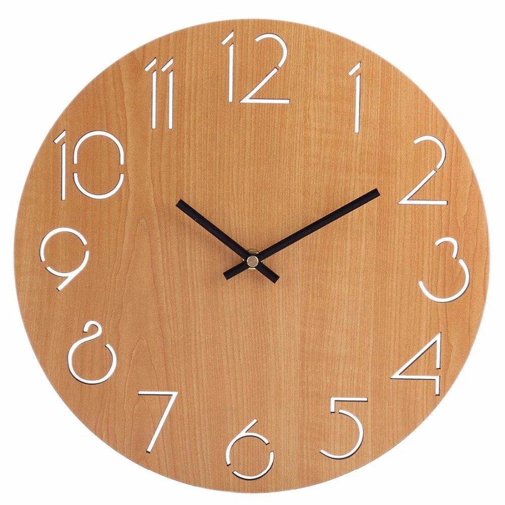 Simple horloge murale ronde style campagnard 30 cm