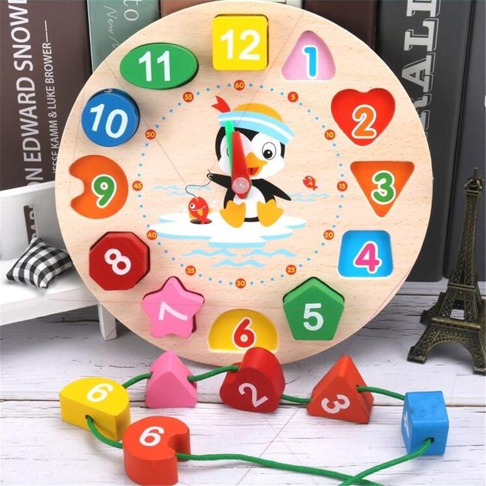 Montessori-dessin-anim-Animal-ducatif-en-bois-perl-g-om-trie-horloge-num-rique-Puzzles-Gadgets