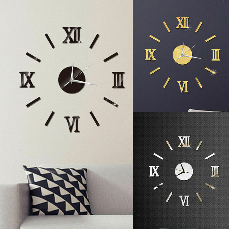 Grande horloge murale avec chiffres romains autocollants 40 cm