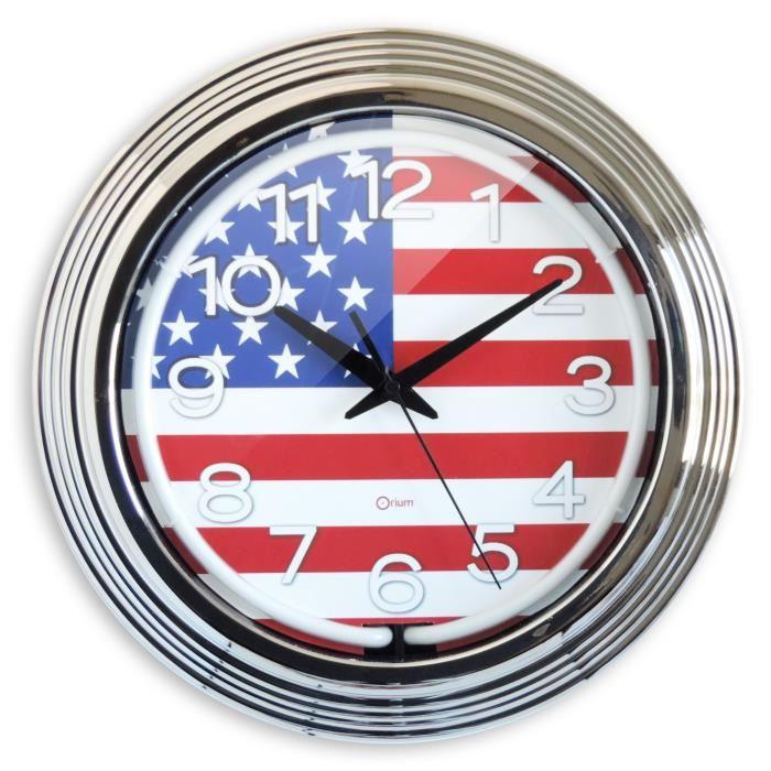 Horloge blanche à Néon thème US 38 cm
