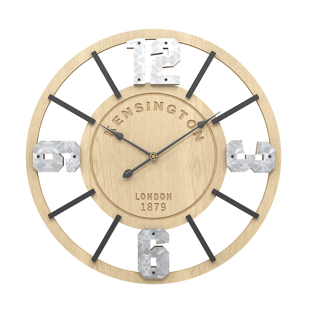Horloge murale rétro en fer et bois MDF 50 cm
